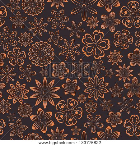 Floral seamless pattern of various bud flowers design vector illustration.