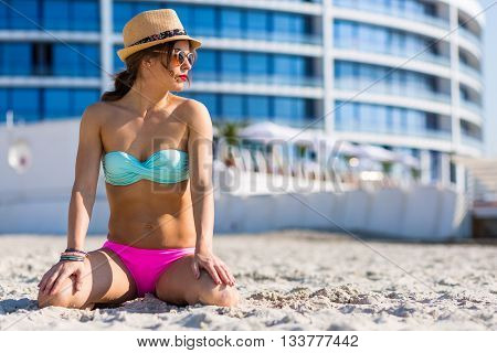 Stylish Boho Girl Relaxing At The Beach