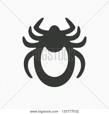 Tick icon vector. Mite sign isolated on white background. Encephalitis mite skin parasite silhouette. Flat design. Vector illustration
