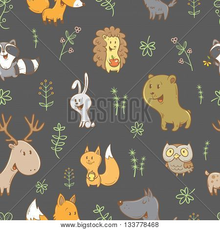 Seamless pattern with cute cartoon foxes, squirrels, wolves, bears, raccoons, owls, deer, and rabbits on  gray background. Different plants. Vector image. Funny forest animals. Children's illustration.