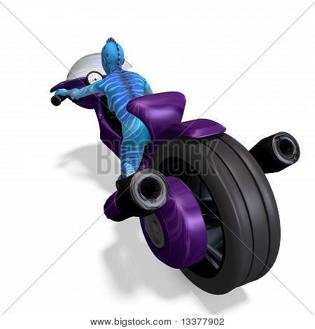 blue female alien on a futuristic bike