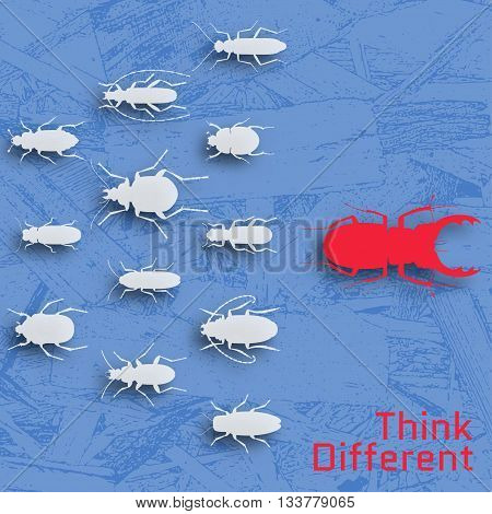 Think different concept. Background with many insects and wooden texture. Vector illustration