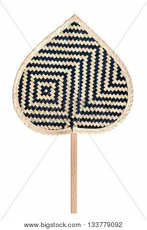 Thai Traditional Handmade Basketwork Fan Isolated On White