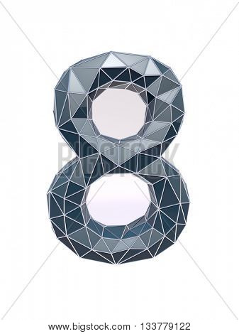faceted number 8, eight, 3d illustration