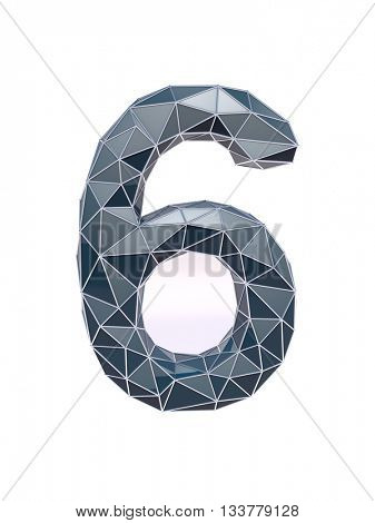 faceted number 6, six, 3d illustration