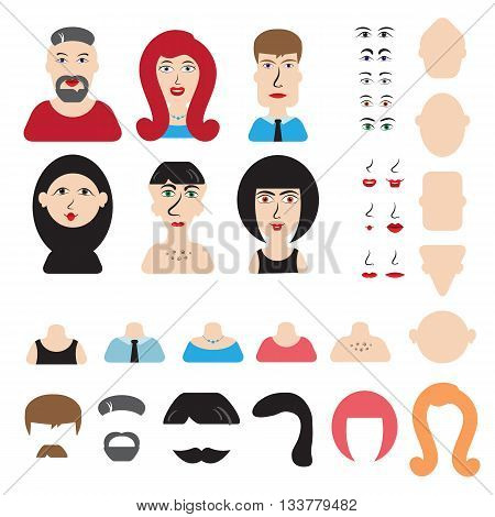 Men and women head and face constructor or avatar constructor. You can easily create your own character