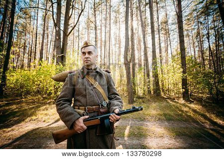 Teryuha, Belarus - October 3, 2015: Unidentified re-enactor dressed as Soviet soldier