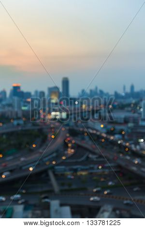 Blurred lights city and highway interchanged, abstract background