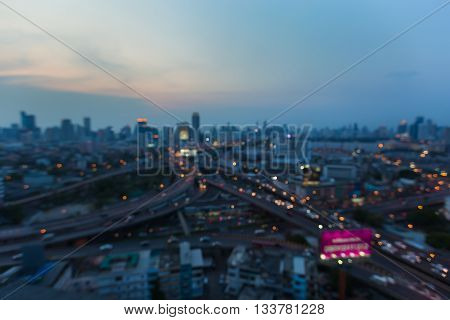 Abstract blurred lights intersection highway and city downtown background