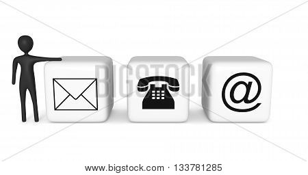 Contact us: white cubes with a black 3d man on a white background 3d illustration