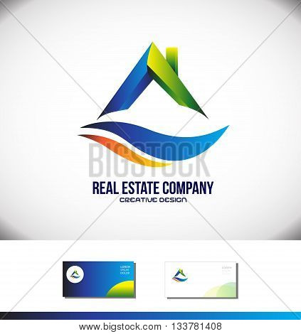 Vector company logo icon element template real estate house roof realtor