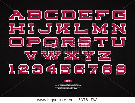 Sport alphabet vector font. Retro style font for baseball, football team. Type and letters on the dark background.