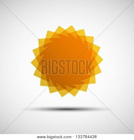 Vector illustration of abstract yellow summer sun logo template for your design