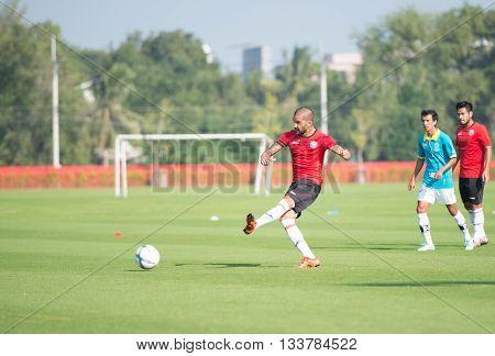 Huahin Thailand-jan28,2016: Thiago Cunha (r) Of Port Fc In Action During Friendly Match Pre-season B