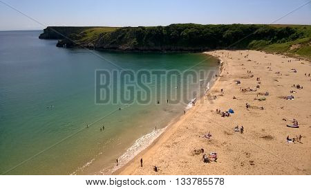 Barafundle Bay, Sandy Beach in Pembrokeshire, South Wales, UK
