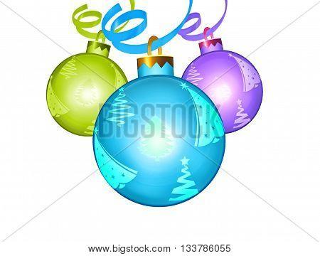 3 festive balls on a transparent background
