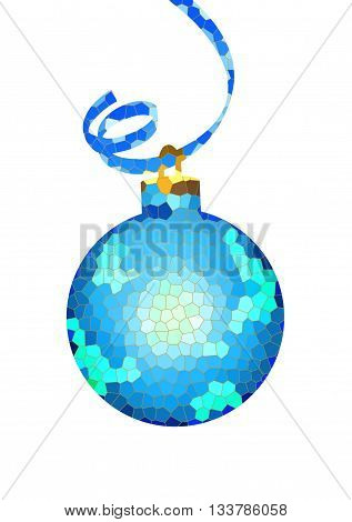 Bright blue ball from multi-colored glasses on a transparent background