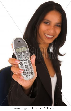 Isolated Businesswoman Holding Telephone