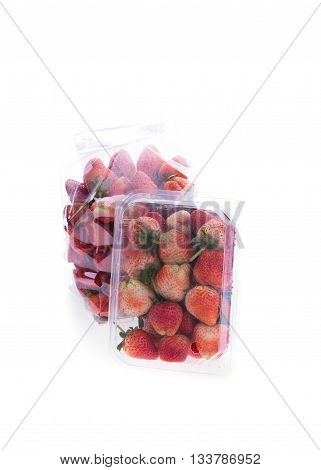 Strawberry Juicy Fruit In Plastic Bag Packaging Isolated