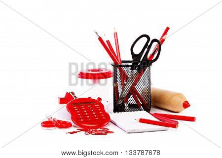 Office and school accessories isolated on a white background. Back to school.