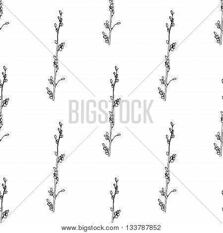 Vector seamless pattern with hand drawn spica. Botanical background in black and white colors.