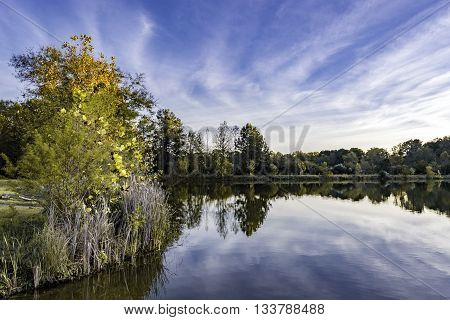 Landscape of lake with fall folliage and blue sky with clouds