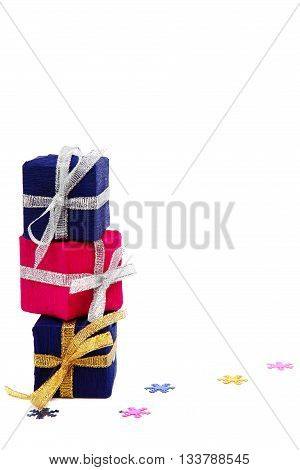 Package with gifts isolated on a white background.