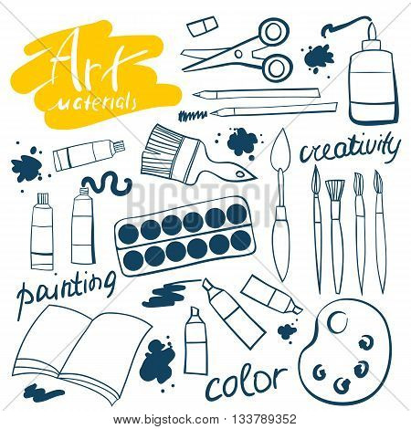 Doodle art materials collection.