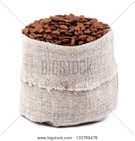Coffee beans in a canvas bag isolated on a white background.