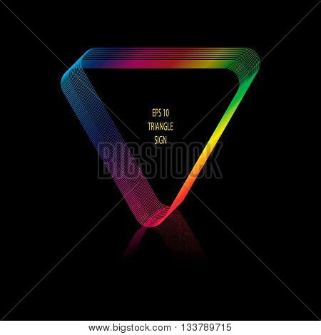 Vector illustration of abstract triangular frame. Frame created by lines . Spectral colours. Reflection below triangle. Black background