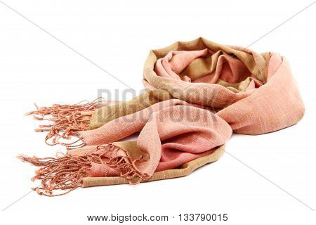 Pink scarf with tassels isolated on white background.