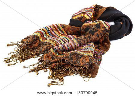 Motley scarf with tassels isolated on white background.