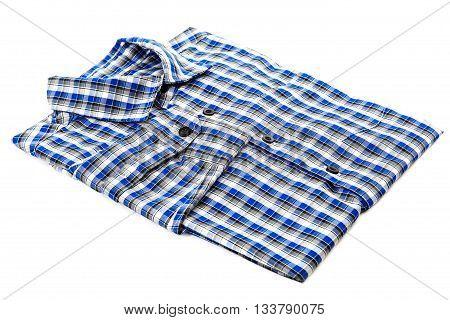 Blue shirt checkered folded isolated on white background.