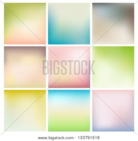 set of blurry backgrounds with soft colors