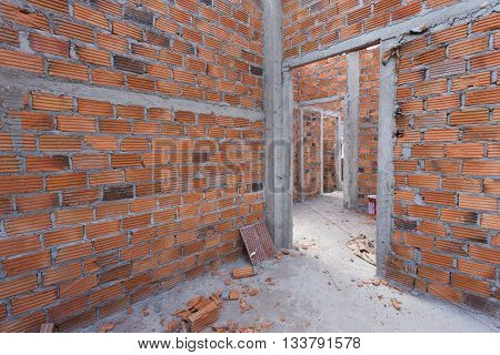 Structural Wall Made Of Brick In Residential Building Construction Site