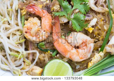Seafood Pad Thai Dish Of Fried Rice Noodles