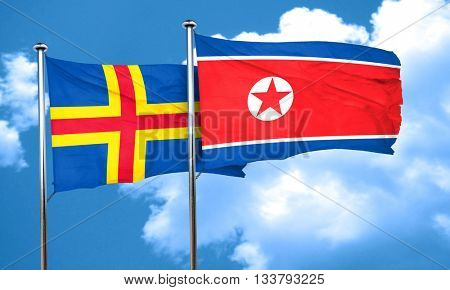 aland islands with North Korea flag, 3D rendering