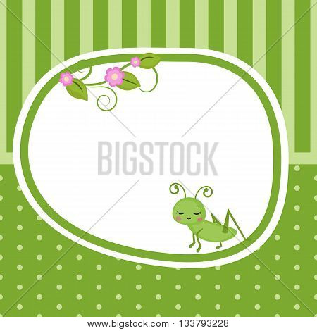 Greeting card with grasshopper. Green background with stripes and polka dots.