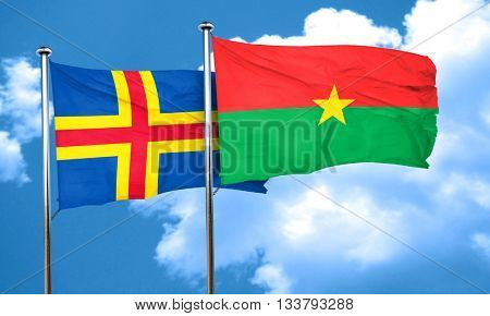 aland islands with Burkina Faso flag, 3D rendering