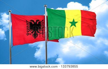 Albania flag with Senegal flag, 3D rendering
