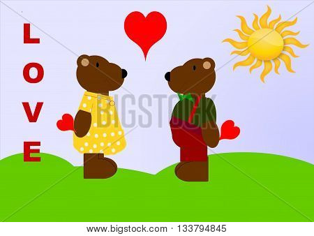 Two teddy bears are in love, everyone carries a heart, which she or he hides. They are standing on a meadow on a sunny day. On the left hand side is written the word