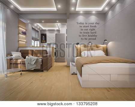 3d illustration living room interior design. Modern studio apartment in the Scandinavian minimalist style