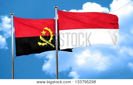 Angola flag with Indonesia flag, 3D rendering