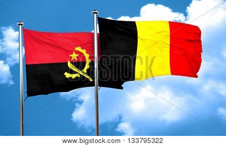 Angola flag with Belgium flag, 3D rendering