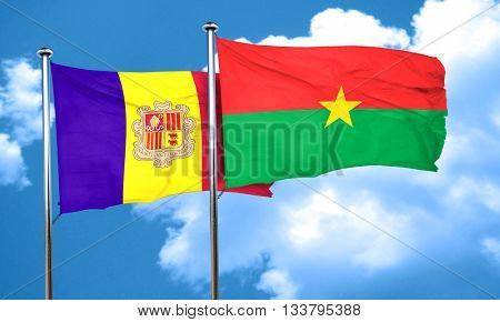 Andorra flag with Burkina Faso flag, 3D rendering