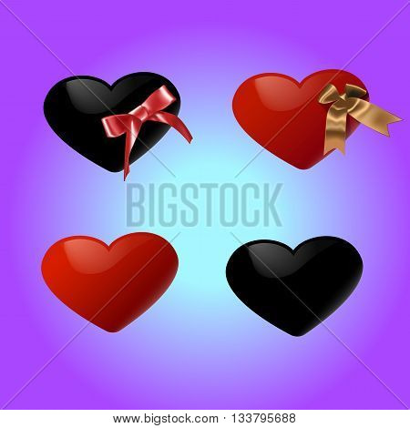 Black and red hearts with bow set. Isolated Vector illustration of Realistic hearts.