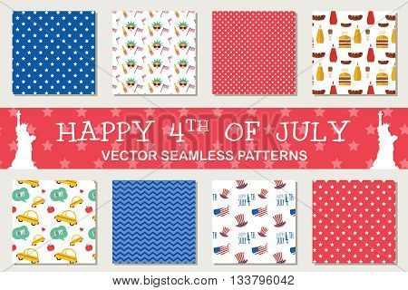 seamless patterns for independence day of America, 4th of July. American symbols. Wrapping paper. Paper for scrapbook. Tiling.