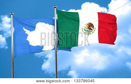 antarctica flag with Mexico flag, 3D rendering