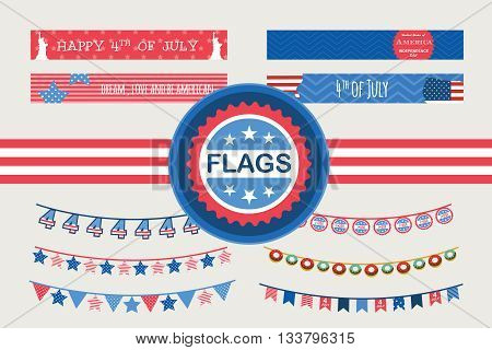 Set of Patriotic bunting flags and straw flags. 4th of July American Flag for Independence Day. vector illustration