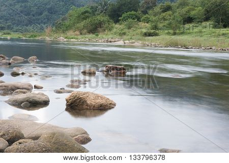 Image Of Brook And Rocks In The Mountains At Kiriwong Village, Nakorn Sri Thammarat , Thailand.